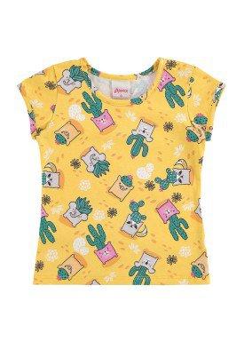 blusa infantil feminina cactos amarelo alenice 40898