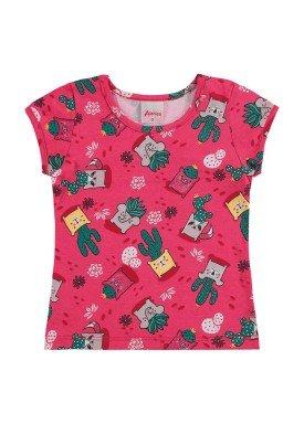 blusa infantil feminina cactos rosa alenice 40898