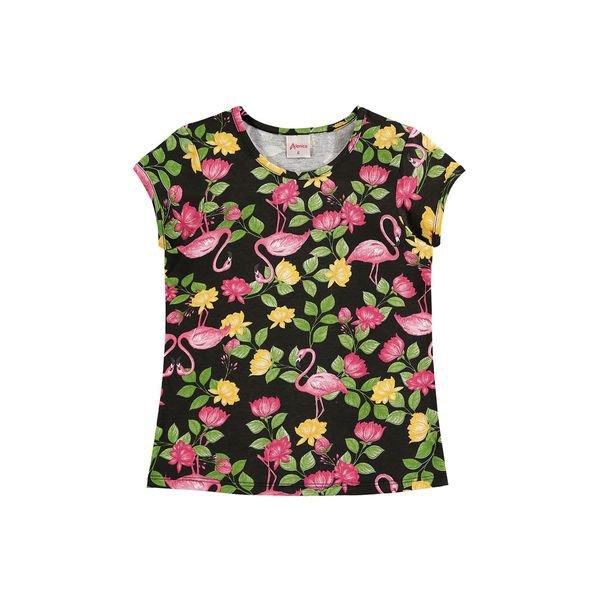 blusa infantil feminina flamingos preto alenice 46901