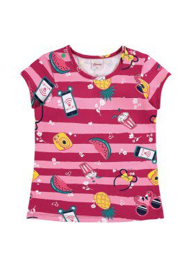 blusa infantil feminina frutas pink alenice 46901