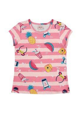 blusa infantil feminina frutas rosa alenice 46901