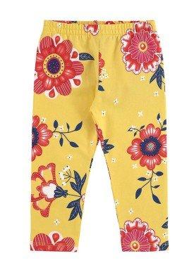 calc a legging infantil feminina floral amarelo alenice 40899