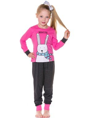 pijama longo infantil menina warm pink evanilda 24010051