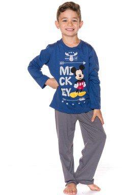 pijama longo infantil menino mickey azul evanilda 27030002