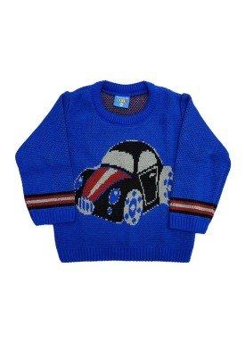 sueter trico bebe masculino carro azul remyro 1033