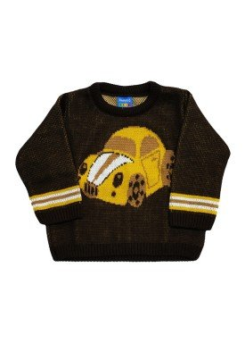 sueter trico bebe masculino carro marrom remyro 1033