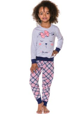 pijama longo infantil feminino cute mescla evanilda 24010059