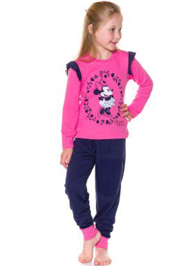 pijama longo infantil feminino minnie pink evanilda 24030003
