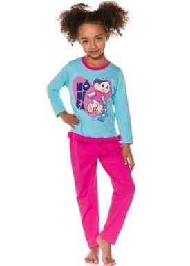 pijama longo infantil feminino monica azul evanilda 24040054