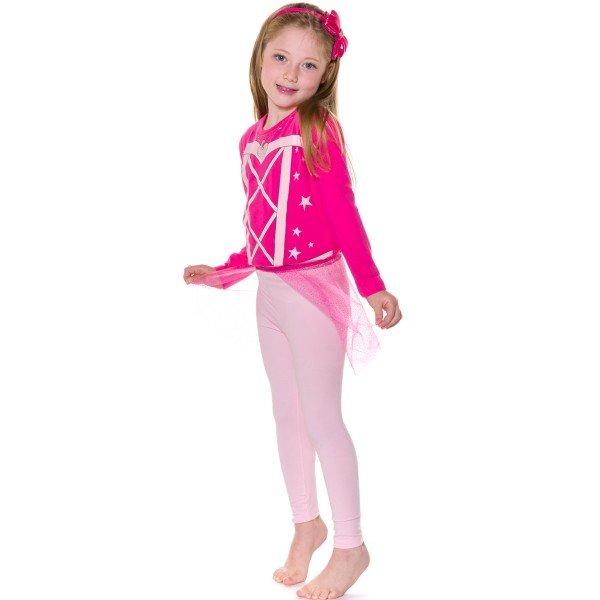pijama longo infantil feminino princess pink evanilda 24010054