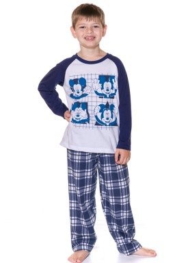 pijama longo infantil masculino mickey branco evanilda 27030006