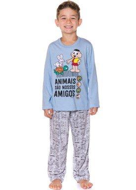pijama longo infantil masculino turma monica azul evanilda 27040037