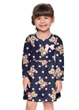 vestido manga longa infantil menina ursinho marinho brandili 53610 4