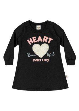 vestido moletom infantil menina heart preto elian 231323