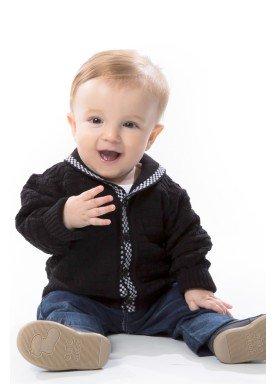 cardiga trico bebe masculino preto remyro 1030 2