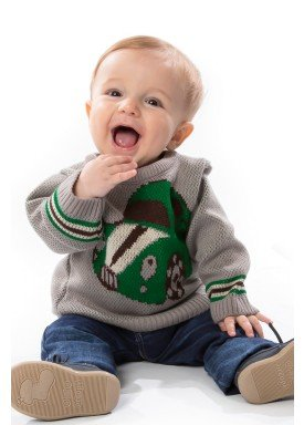 sueter trico bebe masculino carro cinza remyro 1033 1