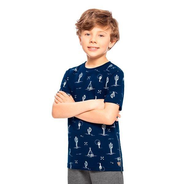 camiseta infantil masculina cactos marinho alakazoo 33249 1
