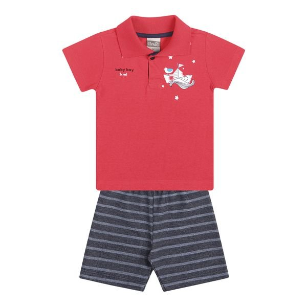 conjunto curto bebe masculino barco vermelho kamylus 11706