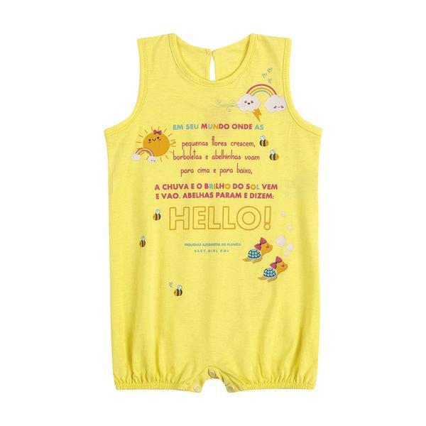 macaquinho bebe feminino hello amarelo kamylus 9966