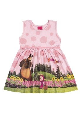 vestido infantil feminino masha urso rosa kamylus 88035