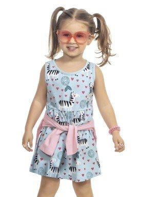 vestido infantil feminino zebras azul kamylus 9978 1