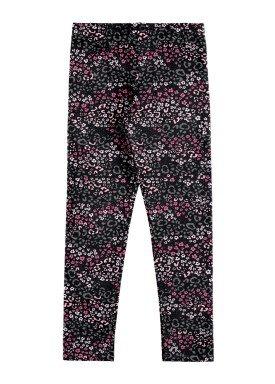 calca legging infantil feminina flores preto alakazoo 67537