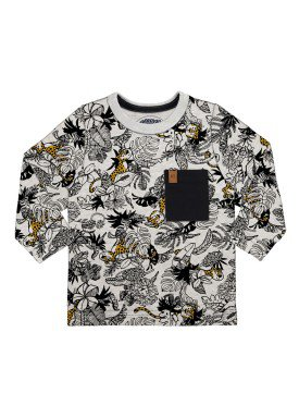 camiseta manga longa bebe masculina floresta mescla alakazoo 67360 2