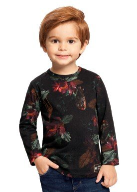 camiseta manga longa infantil masculina floral preto alakazoo 67378 1