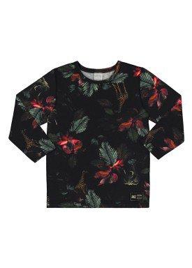 camiseta manga longa infantil masculina floral preto alakazoo 67378 2