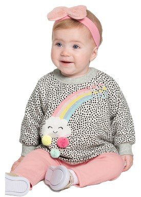 conjunto moletom bebe feminino arco iris mescla alakazoo 67452 1