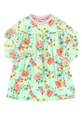 vestido manga longa infantil feminino floral verde alakazoo 67478