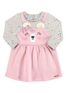 vestido moletom bebe feminino ursinho rosa alakazoo 67459