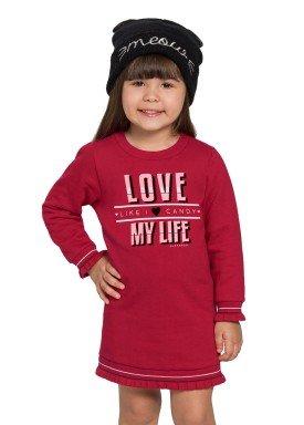 vestido moletom infantil feminino love vermelho alakazoo 67469 1