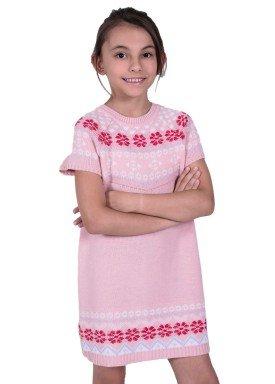 vestido trico infantil feminino jacquard rosa remyro 1239 1