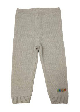 calca trico bebe unissex bege remyro 0125