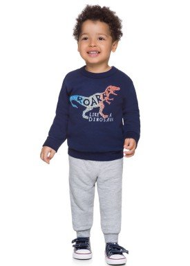 conjunto moletom infantil masculino dinossauro marinho brandili 53510 1