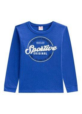 camiseta manga longa infantil masculina sportive azul brandili 53521
