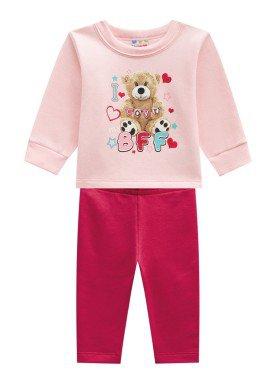 conjunto moletom infantil feminino love rosa brandili 53640