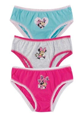 kit calcinha 3pc s infantil feminina minnie evanilda 01030013