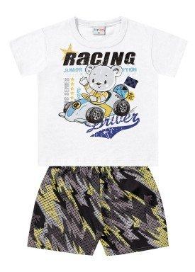 conjunto bebe masculino racing branco forfun 2152