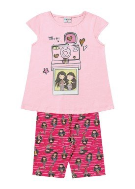 conjunto infantil feminino smile rosa forfun 2125