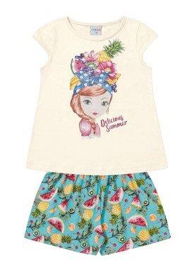 conjunto infantil feminino summer marfim forfun 2124