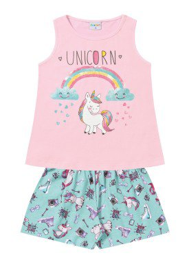 conjunto infantil feminino unicorn rosa forfun 2122