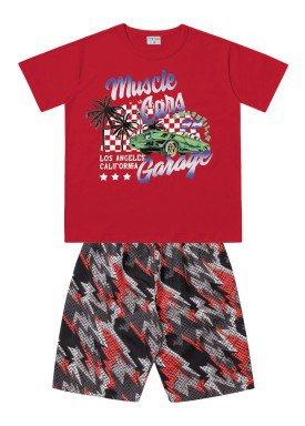 conjunto infantil masculino garage vermelho forfun 2167