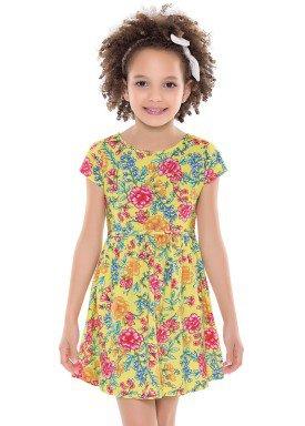 vestido infantil feminino floral amarelo forfun 2126 1