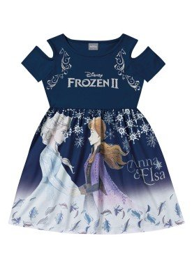 vestido infantil feminino frozen marinho fakini 2438