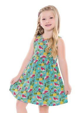 vestido infantil feminino frutas azul forfun 2128 1