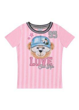 blusa infantil feminina love rosa fakini 2047