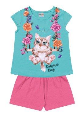 conjunto infantil feminino gatinho azul forfun 2117