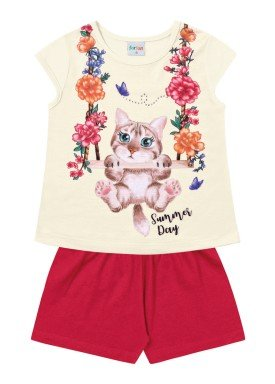conjunto infantil feminino gatinho marfim forfun 2117